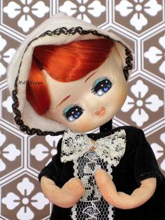 Vintage Pose Doll Black Velvet Dress with Lacey Bow