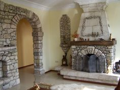 Living Room: 17 Fireplace Design Ideas That Will Add Warmth To Your Living Room, Classic Traditional Stone Wall Cover And Fireplace Mantel Surround Fireplace Mantel Surrounds, Stone Fireplace Mantel, Fireplace Design, Oak Mantel, Natural Stone Fireplaces, Rock Fireplaces, Home Furnace, Stacked Stone Walls, Best Interior Design