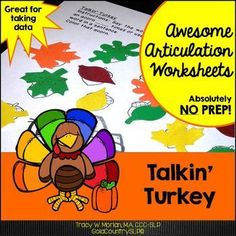 Talkin' Turkey Dot Art Worksheets!720 words, black-ink only,20 words per page. Use for therapy or homework.
