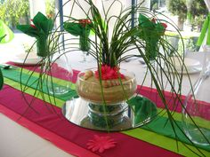 tropical party decor ideas - less on the cheesy side; not these colors, maybe corals and greens?