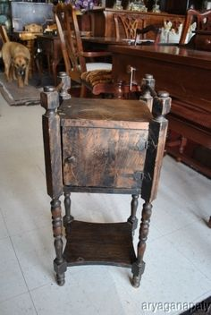 Antique Cigar Tobacco Humidor Side Table Cabinet/had one of these w/ copper inside