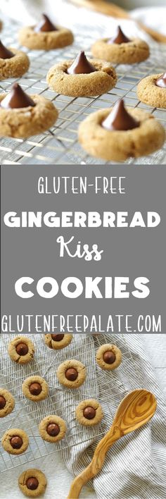 Dark chocolate atop chewy gingerbread cookies make these Gluten-Free Gingerbread Kiss Cookies the perfect holiday treat. via @gfpalate