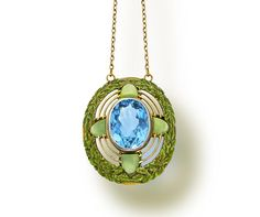 An arts and crafts aquamarine, chrysoprase and enamel pendant necklace, Tiffany & Co., circa 1910