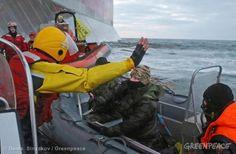 Action Against Gazprom's Arctic Drilling. 09/18/2013 © Denis Sinyakov / Greenpeace