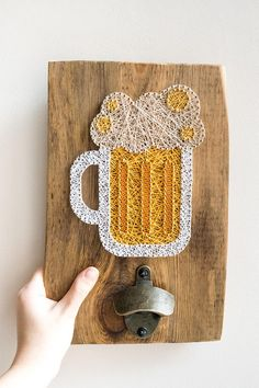 Wooden wall mount beer bottle opener made on reclaimed wood plank with beer mug string art decor, perfect for beer lover or as a man cave decor. Perfect gift for that special man in your life - husband, father, grandpa or just a friend who really enjoys his beer. This beer opener will look