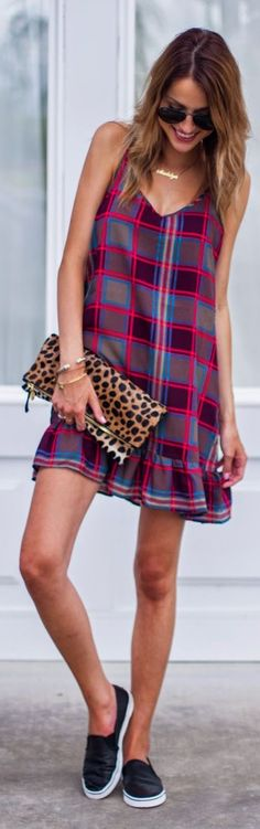 Red Multi Plaid Sleeveless Ruffle Hem Mini Dress