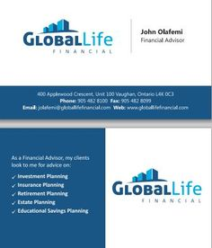 Business Card Design Concept for Global Life Financial, a Financial Services company in Vaughan, Ontario. Front & Back are shown.  Part of the www.danipa.com graphic design portfolio.