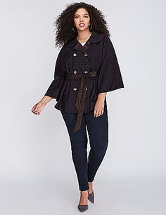 When it comes to capes, we're commitment-phobes. Good thing Melissa McCarthy for Seven7 made this one reversible. Matching self tie. Button closure works either way.  lanebryant.com