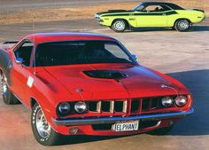 1971 Plymouth Barracuda Red Front View 1970 Dodge Challenger T/A 340 six pack from the side