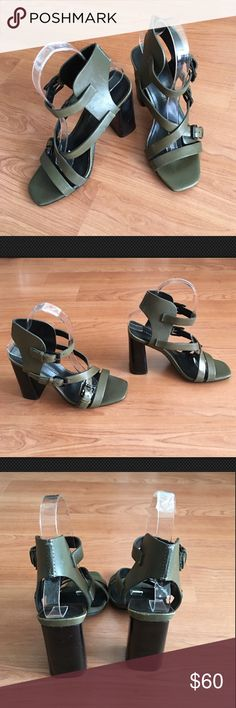 "Rebecca Minkoff block heel gladiator sandals Great Rebecca Minkoff heels! Strappy green leather gladiator style sandals with block heels. Size 6M with 4"" heels. A few scuffs on leather. See photo. Otherwise minimal wear on shoe or sole. Thank you. Rebecca Minkoff Shoes Heels"