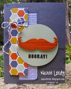 Canopy Crafts: Hooray, a Fan-tache-tic Birthday! - SU - masculine card, mustache die, off the grid, remember this, six sided sampler