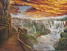 """Jewish Art for the Soul - Jewish Artists Reflect Natalia Kadish's """"Lech Lecha"""" means 'Go for yourself' as the stairs symbolize. All of life's journeys are part of our quest to reveal our true selves or the spark of         G-dliness within us."""