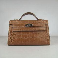 Hermes Kelly Bag Crocodile Leather In Brown Sac Hermes Kelly, Sac Birkin Hermes, Hermes Bags, Handbags Uk, Hermes Handbags, Handbags Online, Handbags On Sale, Crocodile, Balenciaga Handbags