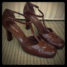 CHOCOLATE VINTAGE STYLE HEELS These vintage style heels have been worn a couple of times for an event. Great condition and comes with the box. Geller Shoes Heels