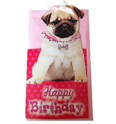 Pug birthday card from www.ilovepugs.co.uk post worldwide