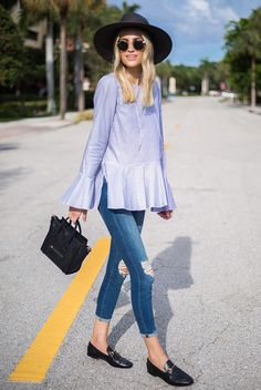 spring outfit, fall outfit, summer outfit, casual outfit, comfy outfit - black fedora, blue stripe bell sleeve top, distressed crop jeans, black loafers, black handbag, round sunglasses