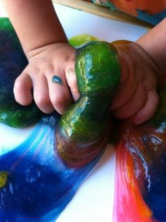 1/2 clear glue, 1/2 liquid corn strach, a little food coloring, and an endless day of play!!:D