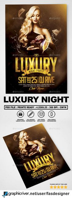 #Luxury #Night #Flyer v2 - Clubs & Parties Events Corporate Flyer, Business Flyer, Party Flyer, Nye Party, Music Flyer, Free Flyer Templates, Club Flyers, Flyer Layout