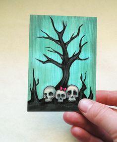 Spooky Skull Tree ACEO Print - Halloween Art -Artist Trading Card