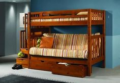 Staircase Bunk Bed with Futon - Honey Finish Futon Bunkbed - FREE Shipping