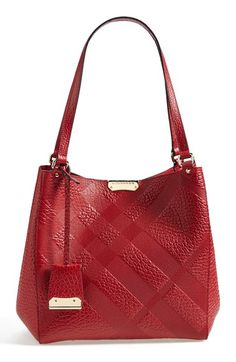 rich red Burberry check embossed leather tote http://rstyle.me/n/uzvf5r9te