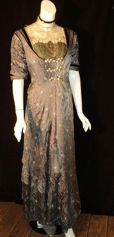 Titianic Era Original Dress Gown 100th Anniversary Liberty Print Metallic Lame Black Velvet  1910s.