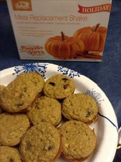 Pumpkin Spice Muffins : 1 AdvoCare PS Meal replacement shake pack, 3 eggs, 1/2 c. Oats, 1/2 c. Unsweetened applesauce, 1/2 c. raisins, 1 tsp. vanilla, 1 tsp. cinnamon. Mix all and bake at 350 for 15 min.