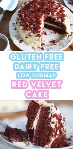 My Gloriously Gluten Free Red Velvet Cake Recipe (dairy free and low FODMAP) Gluten free red velvet cake recipe! It's so easy to get that iconic deep, red colour and it's gluten free, dairy free and low FODMAP too. Fodmap Dessert Recipe, Fodmap Recipes, Dairy Free Recipes, Baking Recipes, Cake Recipes, Dessert Recipes, Desserts, Gluten Dairy Free, Keto Recipes