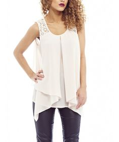 Look at this AX Paris White Lace Layered Tank on #zulily today!