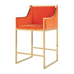 Worlds Away Hazel Brass Counter Stool in Orange - CURRENTLY ON BACKORDER - CALL FOR AVAILABILITY