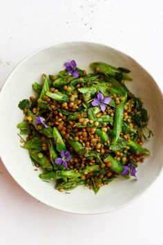 Herby Asparagus Lentil Salad with Mint + Dill + Hemp Oil   An herby asparagus lentil salad with spring herbs like mint and dill and drizzled with a nutty hemp oil. A spring salad that is hearty enough for a meal.