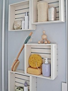 Small crates turned into bathroom shelves!