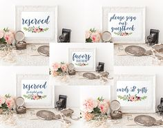 Printable Floral Navy Wedding Signs Bundle 5x7 by OccasionHouse