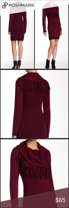 """Romeo & Juliet Sweater Dress - Cowl neck with fringe detail color port size medium - Long sleeves - Ribbed trim - Patterned knit construction - Approx. 36.5"""" length - Imported Fiber Content: 60% cotton, 40% acrylic Care: Hand wash cold Additional Info: Fit: this style fits true to size. Romeo & Juliet Couture Dresses"""