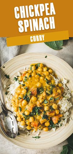 Rich flavor surrounds this Chickpea Spinach Curry, which is made in under 20 minutes and filled with vegetables. Traditional curry spices such as garam masala kick the taste up and the chickpeas give it protein bulk. Simple and served over rice or cauliflower rice this is one delicious vegan recipe. Chickpea And Spinach Curry, Cauliflower Curry, Chickpea Curry, Healthy Weeknight Meals, Healthy Recipes, Sweet Potato Curry, Chicken Curry Salad, Curry Spices, Delicious Dinner Recipes