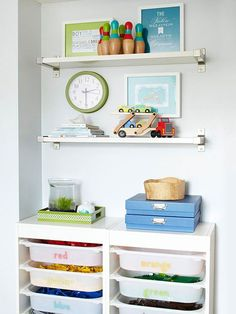 Find a toy organization system that works best for your kids! Click through for our best ideas: http://www.bhg.com/decorating/storage/organization-basics/organized-home/?socsrc=bhgpin021614controlkidclutter&page=13