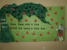 "The Giving Tree bulletin board. Follow my board ""My Classroom"" for unique monthly bulletin boards and classroom theme ideas."