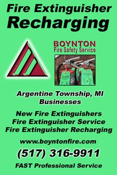 Fire Extinguisher Recharging Argentine Township, MI (517) 316-9911 Local Michigan Businesses Discover the Complete Fire Protection Source.  We're Boynton Fire Safety Service.. Call us today!