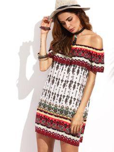 1145a0e37735 Tribal Print Ruffle Off The Shoulder Shift Dress Spring Fashion Casual