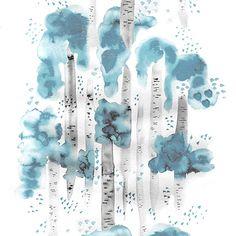 Design: BJÖRKAR (turquoise)  Designer: Louise Videlyck (Sweden) Manufacturer: Arvidssons Textil Composition: 100% Cotton Width: 140 cm Repeat: 260 cm