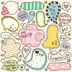 Wall Mural cute doodle cartoon words label