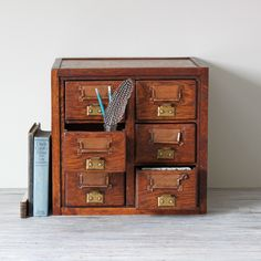 wooden library card file