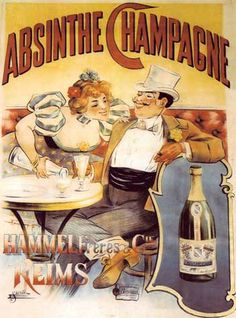 Vintage Champagne absinthe poster.  This is an absinthe brand, not a sparkling wine.