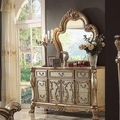Acme Furniture, Coaster Furniture, Refurbished Furniture, Furniture Makeover, Bedroom Furniture, White Wood Dresser, Gold Dresser, Dresser With Mirror, French Rococo