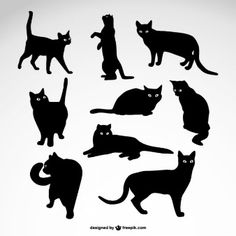 Cats silhouettes vector free download