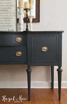 9 DIY furniture makeover ideas using black paint. Black painted furniture has become a trend lately. Use these before and after projects as inspiration. Black Painted Furniture, Painted Bedroom Furniture, Refurbished Furniture, Colorful Furniture, Repurposed Furniture, Furniture Makeover, Vintage Furniture, French Furniture, Chalk Paint Furniture