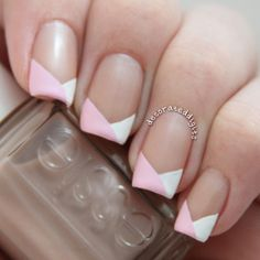Neapolitan looking pink and white funky french tip nails by decorateddigits