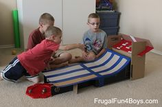 Upcycle a cardboard box into a skee ball game for marbles that really works!  The post has a video demonstrating it!