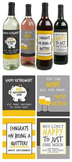 "Toast with these Retirement Wine Labels. I love the ""Congrats on being a quitter!"" More creative Retirement Party Ideas and Gifts on Frugal Coupon Living."