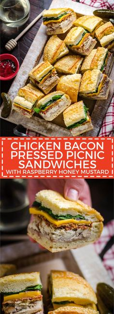 Chicken Bacon Pressed Picnic Sandwiches with Raspberry Honey Mustard. These tangy smash-hit sandwiches are great for potlucks, barbecues, picnics, parties, and all that lies in-between. With a raspber (Chicken Wraps Bacon) Picnic Lunches, Picnic Foods, Food For Picnic, Picnic Lunch Ideas, Easy Picnic Food Ideas, Pressed Sandwich, Wrap Sandwiches, Dinner Sandwiches, Gourmet Sandwiches